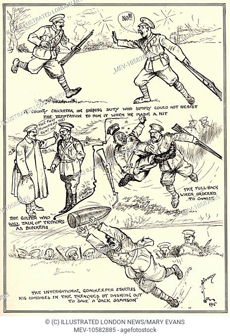 Libellous? - With a sporting battalion at the front: Highly imaginative drawings  The over-enthusiasm of Harry Low's sporting battalion certainly raises a smile