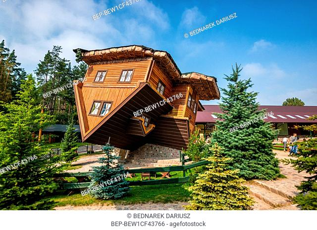 Upside down house, Centre for education and regional promotion. Szymbark, village in Pomeranian Voivodeship, Poland