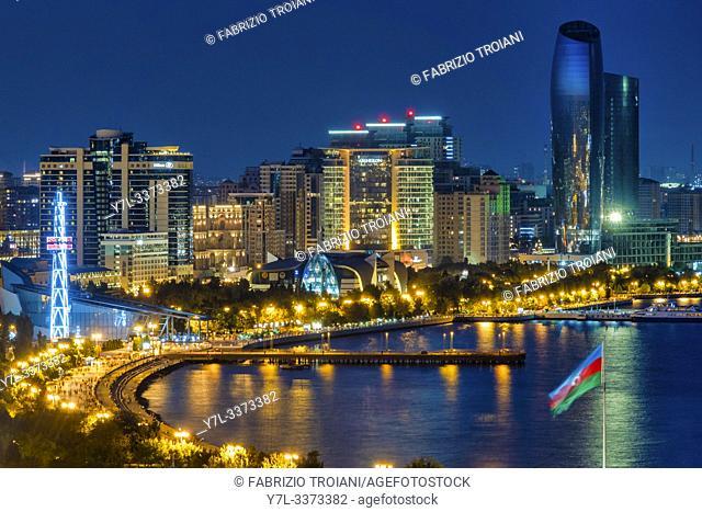 Aerial view of the Baku Boulevard, Baku, Azerbaijan