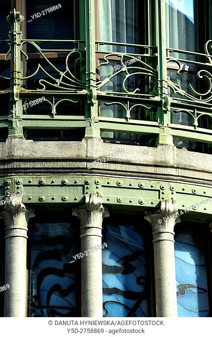 -Detail of Hotel Tassel town house built by Victor Horta for the Belgian scientist and professor Emile Tassel in 1893–1894, first true Art Nouveau building