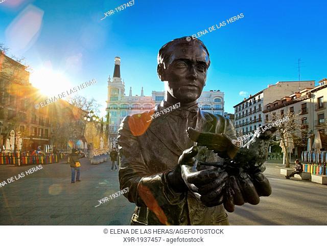Poet Federico Garcia Lorca statue at Santa Ana square. Madrid. Spain