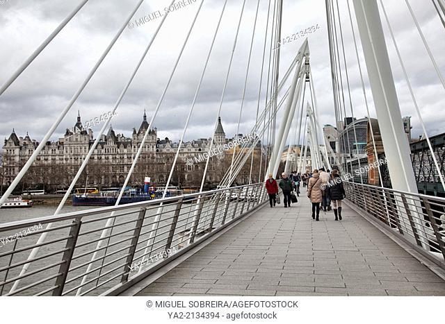 Golden Jubilee Bridge from South Bank to Embankment in London UK