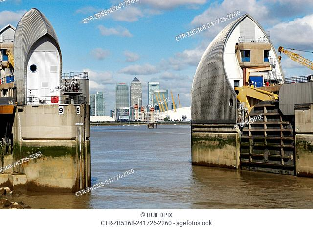 The Thames Barrier, a flood control structure on the River Thames, constructed between 1974 and 1984 at Woolwich, East London, UK