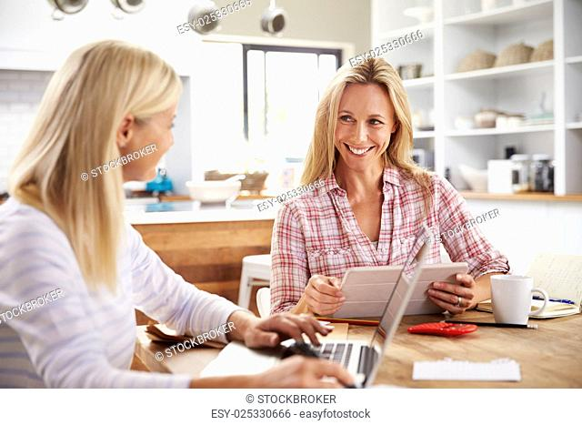 Two women working together at home