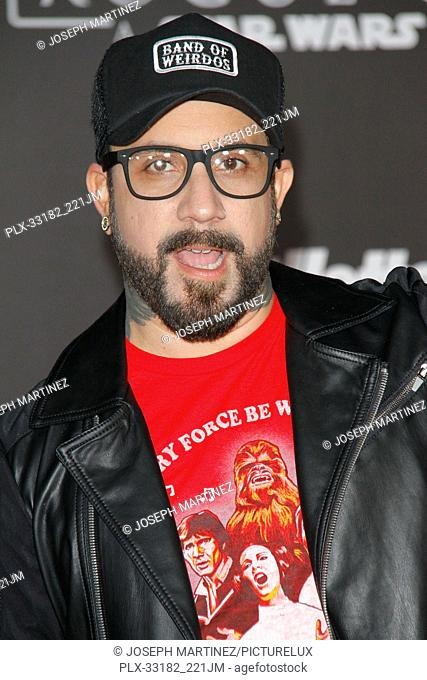 """A. J. McLean at the world premiere of """"""""Rogue One: A Star Wars Story"""""""" held at the Pantages Theatre in Hollywood, CA, December 10, 2016"""