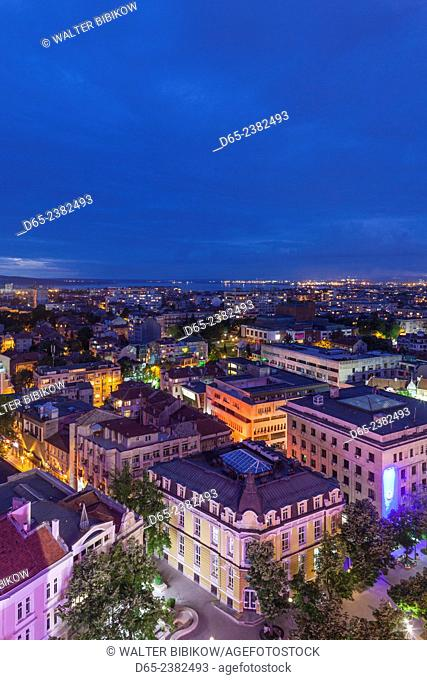 Bulgaria, Black Sea Coast, Burgas, elevated city view. dusk