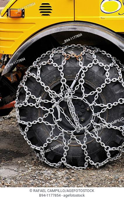 Snow chains on truck tires. Osseja, Languedoc-Roussillon, Pyrenees Orientales, France