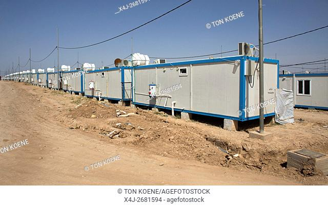 container houses of Iraqi displaced people in Anwald refugee camp, Northern Iraq