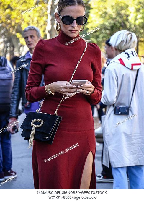 PARIS, France- September 26 2018: Women on the street during the Paris Fashion Week