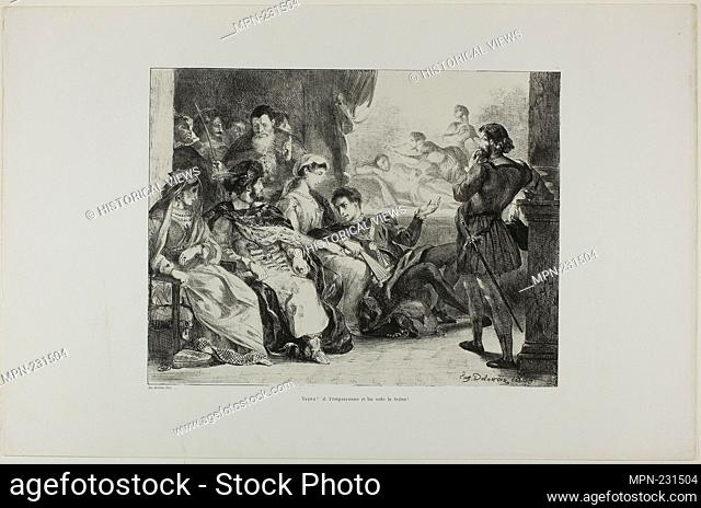 Hamlet Makes the Players Enact the Poisoning of His Father, plate 7 from Hamlet - 1835 - Eugène Delacroix French, 1798-1863 - Artist: Eugène Delacroix