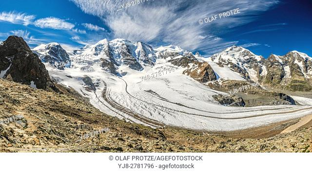 360 degree panorama view from the Diavolezza Mountain Station towards the Pers Glacier, Grisons, Switzerland