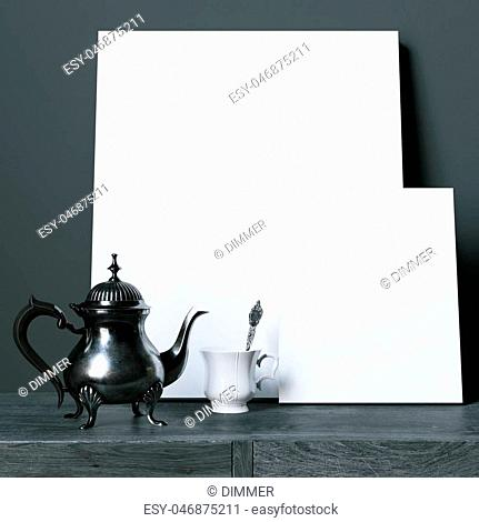 Mock-up blank posters on black wooden table with vintage coffee pot. 3d render