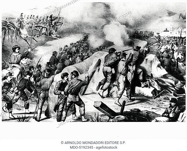 Giuseppe Garibaldi during the Battle of Volturnus (Giuseppe Garibaldi durante la Battaglia del Volturno), 19th Century, engraving