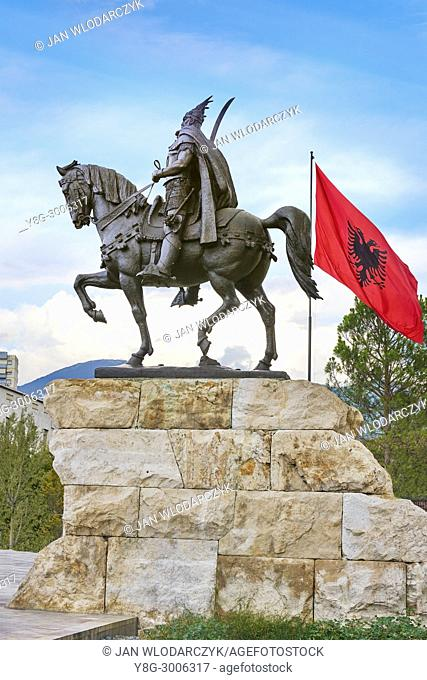 Albania, Tirana - statue of Skanderbeg, Skanderbeg Square