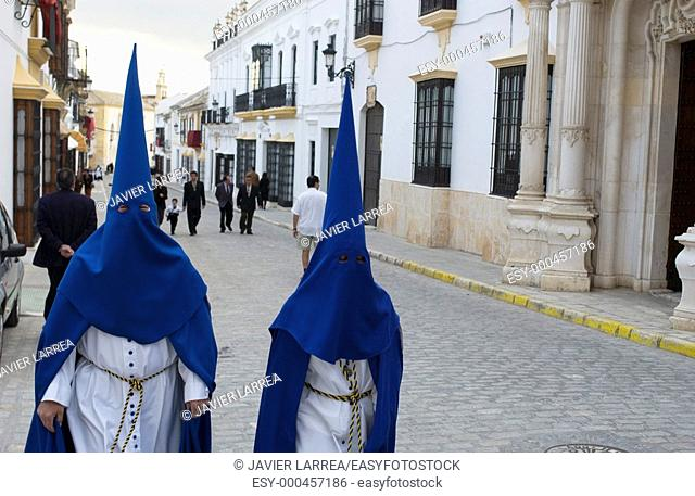 Penitents, Holy Week. Osuna, Sevilla province. Andalusia. Spain