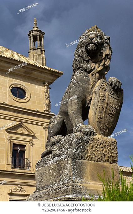 Heraldic lion statue, The Vazquez de Molina Palace (also called Palace of the Chains) - 16th century, Town council , Ubeda, Jaen province, Region of Andalusia