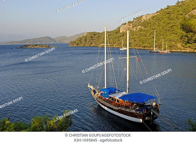 schooner in a creek of the Fethiye's bay, Lycian coast, Turkey, Eurasia