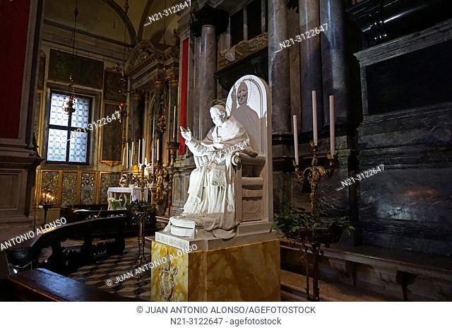 Pope Pius X statue in San Salvador Church. Venice, Veneto, Italy, Europe