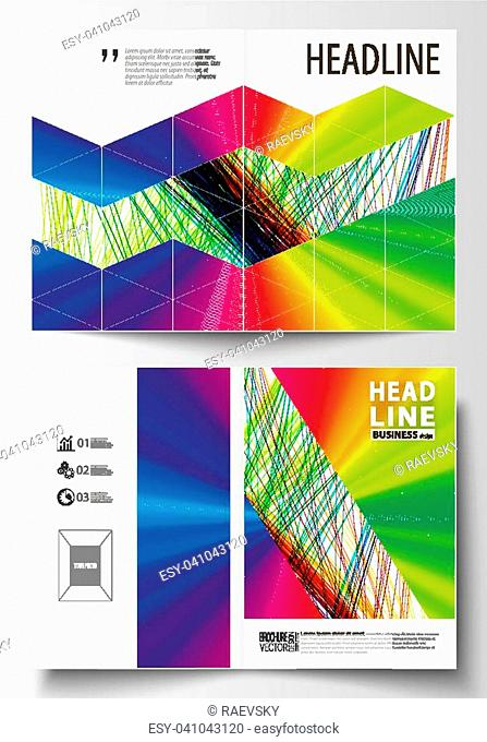Business templates for bi fold brochure, magazine, flyer. Cover template, easy editable vector, flat layout in A4 size. Colorful background with abstract waves