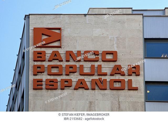 Logo and logotype on the headquarters of the Spanish bank Banco Popular Espanol, Madrid, Spain, Europe