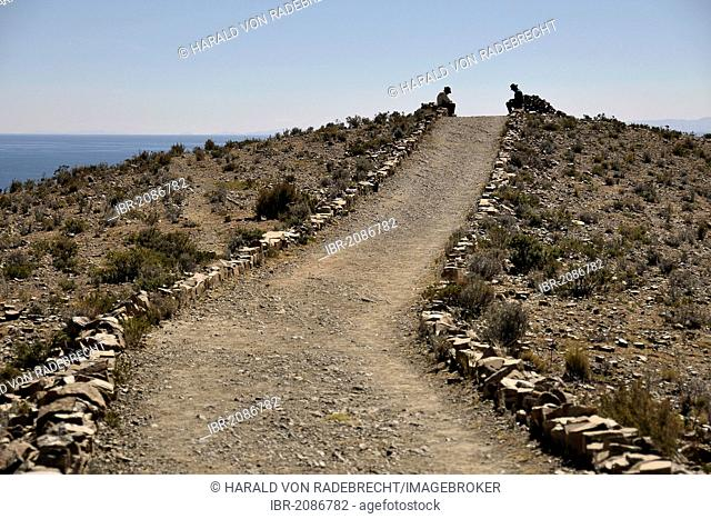 Walking trail on the Isla del Sol, Island of the Sun, in Lake Titicaca, Copacabana, Bolivia, South America