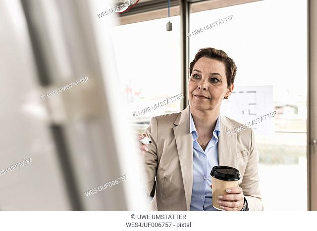 Businesswoman looking at flipchart