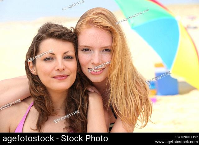 Portrait of girlfriends at the beach