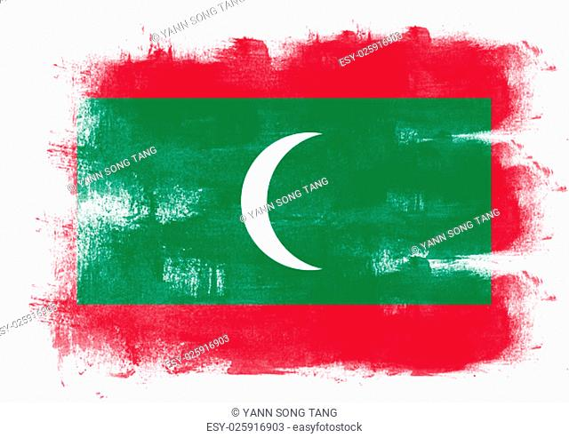 Flag of Maldives painted with brush on solid background