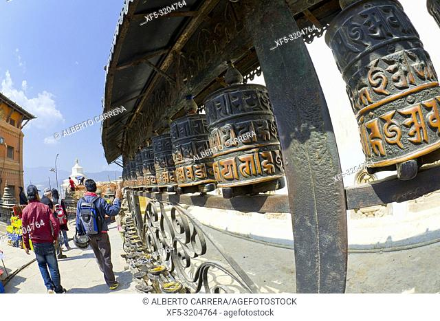 Tibetan copper prayer wheels, Swayambhunath Temple, Monkey Temple, UNESCO World Heritage Siite, Kathmandu, Nepal, Asia