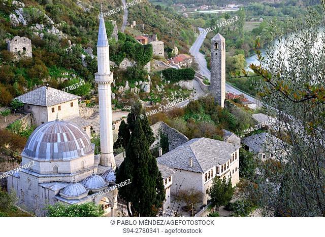 Dadzi-Alija mosque and Neretva river in Pocitelj, Capljina, Bosnia and Herzegovina