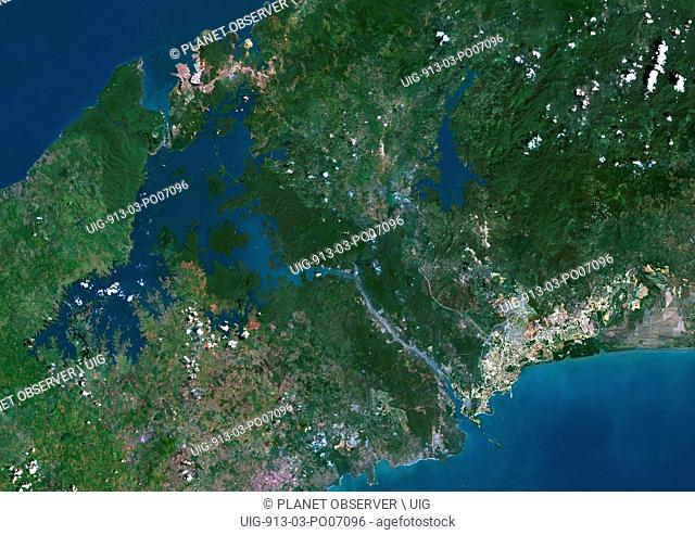 Satellite view of Panama Canal. This image was compiled from data acquired by Landsat satellites