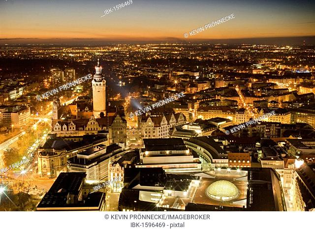 View towards the new town hall in the evening, Leipzig, Saxony, Germany, Europe