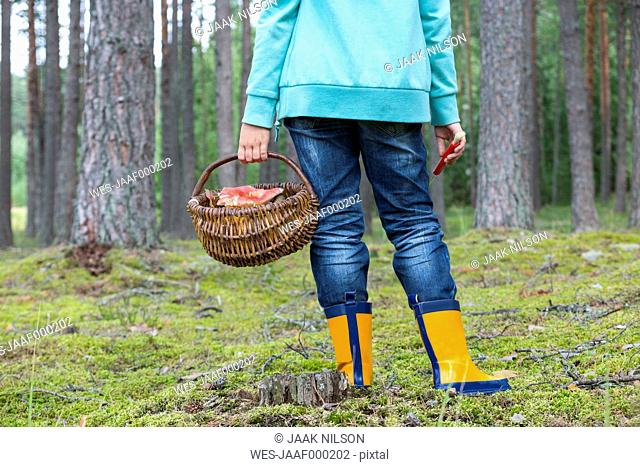 Estonia, girl with wicker basket of mushrooms in a forest