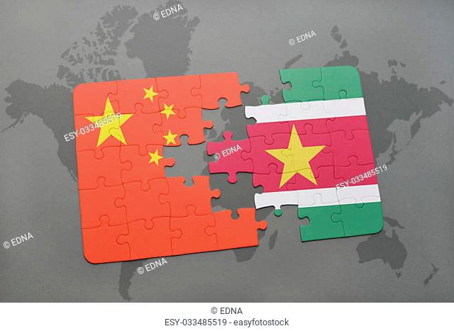 puzzle with the national flag of china and suriname on a world map background. 3D illustration