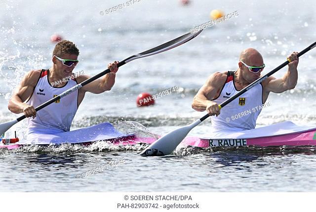 Ronald Rauhe (R) and Tom Liebscher of Germany in action during the Men's Kayak Double 200m final of the Canoe Sprint events of the Rio 2016 Olympic Games at...