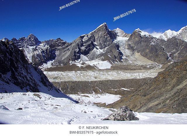 view from ascent to Kongma La to Lobuche and Khumbu glacier, Nepal, Himalaya, Khumbu Himal