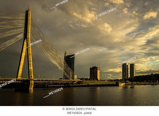 View of the Vanšu Bridge in Riga at dawn