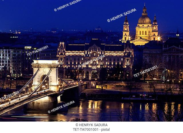 Illuminated cityscape with Chain Bridge and Saint Stephen's Basilica