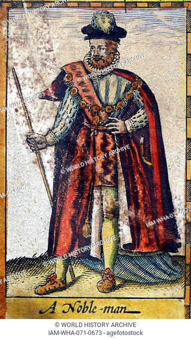 Tudor nobleman (detail), from a map of England and wales by John Speed;C1612
