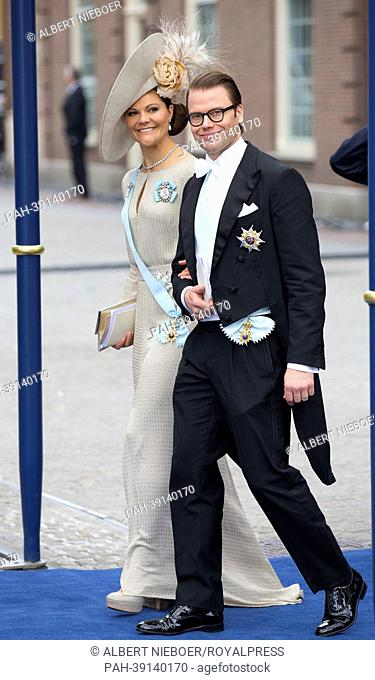 Crown Princess Victoria and Prince Daniel of Sweden leave the Nieuwe Kerk in Amsterdam, The Netherlands, 30 April 2013, where the investiture of the new king...