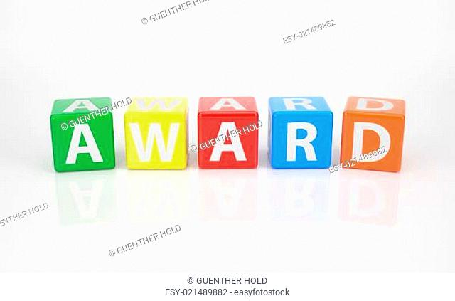 Award out of multicolored Letter Dices