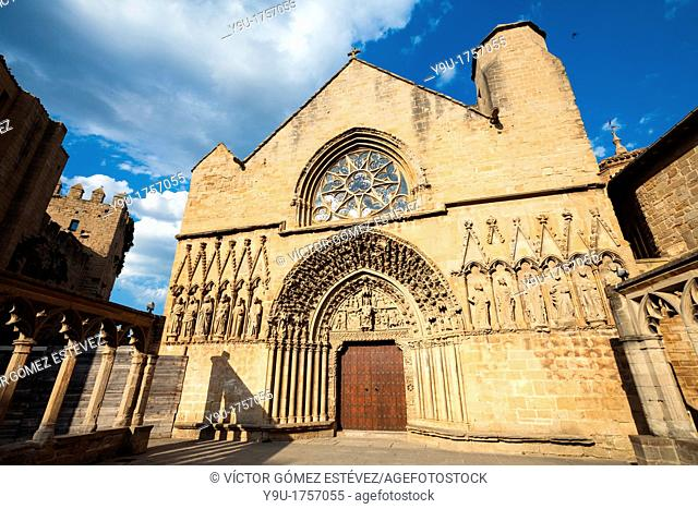 Church of St. Mary in Olite at evening, Navarre, Spain