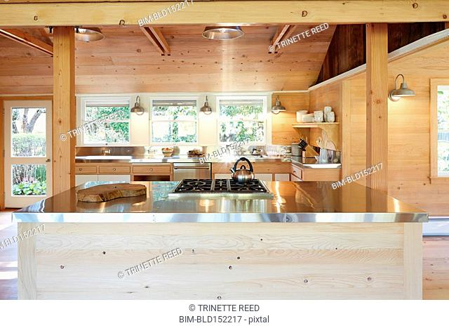 Stainless steel counters and wood walls in rustic kitchen