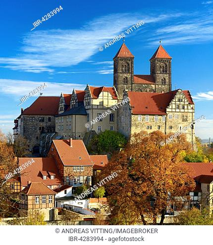 Castle hill with collegiate church of St. Servatius, UNESCO, Quedlinburg, Saxony-Anhalt, Germany