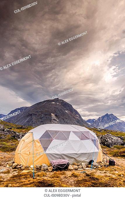 Tent pitched in the Tasermiut Fjord, Narsaq, Vestgronland, Greenland