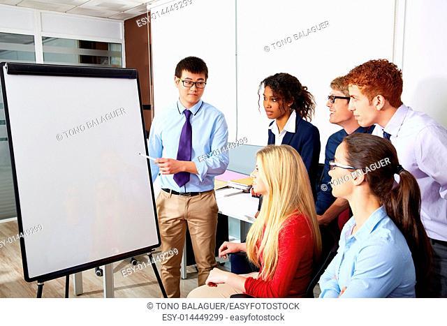 Asian executive businessman presentation to office team