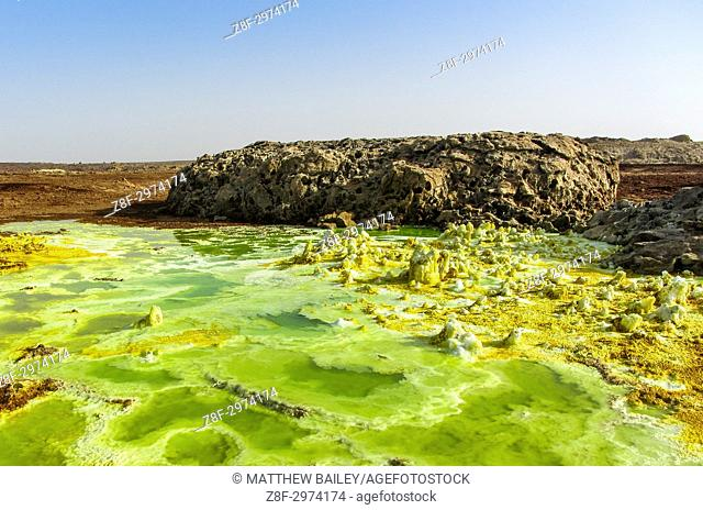 bubbling hot mineral pools of the Danakil Depression in Northern Ethiopia