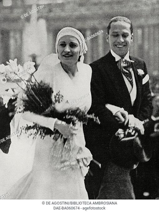 Edda Mussolini (1910-1995) and Galeazzo Ciano (1903-1944) in the day of their wedding in Rome, Italy, photo by Sangiorgi, from L'Illustrazione Italiana