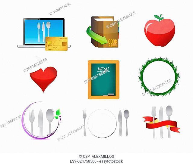 food restaurant menu concept icon set illustration