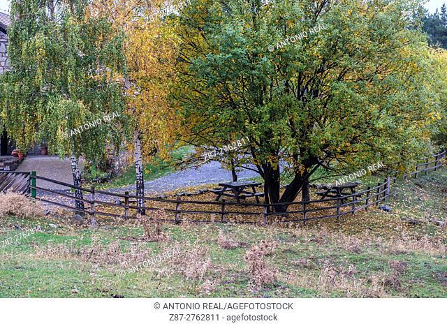 Refugio de Gabardito in autumn, Valle de Hecho, Valles Occidentales Natural Park, Pyrenees Mountains, Huesca province, Aragon, Spain